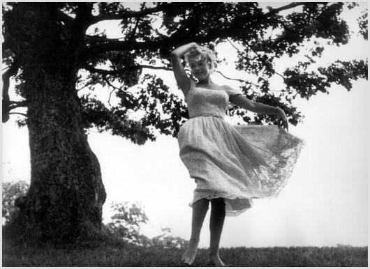 Marilyn Monroe barefoot and dancing, Roxbury, CT 1 by Sam Shaw on artnet