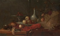 nature morte au homard, panier de fruits et verre römer by andries benedetti