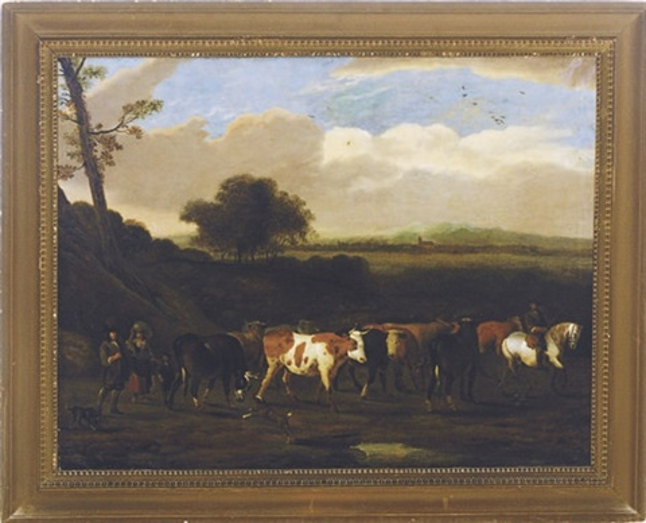 cattle on the road to pasture by adriaen van de velde