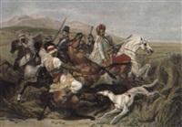 la chasse aux sangliers dans la plaine de sahara by jean-pierre-marie jazet
