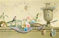 roses in a wicker basket, peaches, a finch and an urn by louis tessier