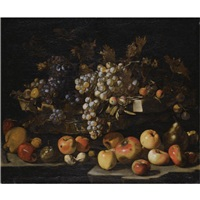 a still life with red and green grapes, apples, pears, hazelnuts, figs, walnuts and plums over a stone ledge by luca forte