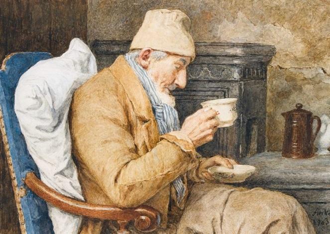 grossvater mit kaffeetasse by albert anker