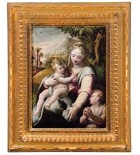 madonna mit dem kind und dem johannesknaben in einer landschaft - madonna con il bambino e san giovannino in un paesaggio by girolamo macchietti
