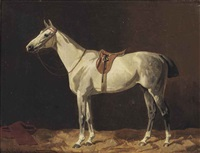 a saddled grey horse waiting in a stable by emil volkers