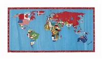 mappa del mondo - l'insensata corsa della vita (map of the world - the nonsensical course of life) by alighiero boetti
