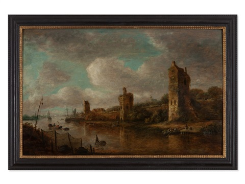 town wall on a river by jan josefsz van goyen