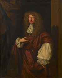 portrait of a gentleman, said to be sir william whitmore, 2nd bart. of apley, in a russet coat with a white lace jabot, standing before a column by john greenhill