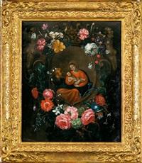 guirlanda de flores con la sagrada familia by frans ykens