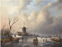 skaters before a windmill on a frozen waterway by j.c. corver