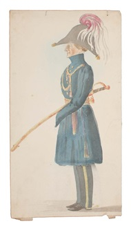 standing caricature profile of an officer with plumed hat and sabre (+ sketch; verso) by denzil o. ibbetson