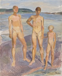 two boys and a girl on a coastal rock by jean heiberg