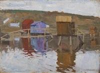 baraques au bord de l'eau by arnold borisovich lakhovsky