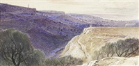 the valley of jehosaphat with jerusalem beyond by edward lear
