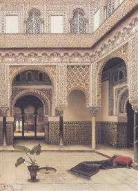 fountain in a moorish courtyard by tomas aceves