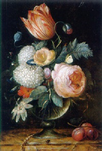 a tulip, an ear of corn and other flowers in a glass vase with plums on a marble ledge by pieter gallis