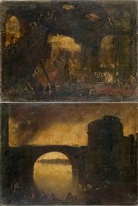 construction d'un pont (+ bataille sur un pont; pair) by filippo d' angeli