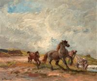 chevaux au pré by henri arthur bonnefoy