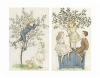 the orange tree and the apple tree (2 works) by kate greenaway