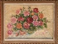 vase de roses by alexei konstantinovich korovin
