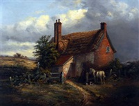 horse and dog before a suffolk thatched cottage by thomas smythe