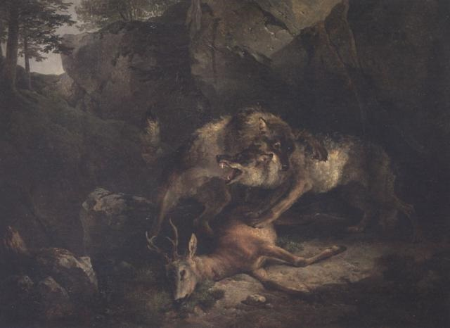 Wolves Fighting Over A Stag By Friedrich Gauermann On Artnet