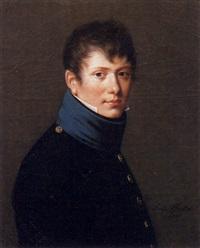 portrait d'homme au col bleu by lucille foullon