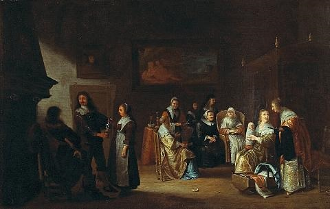 an interior with a dutch family celebrating the birth of a baby by adriaen lucasz fonteyn