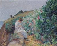 young woman in a landscape by french school