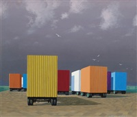 waiting containers, syracuse harbour by jeffrey smart