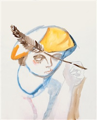 the artist in a yellow beret by imre ámos