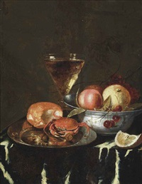a crab on a pewter platter, a peach, cherries in a pewter bowl and a wine glass, on a draped table by abraham van beyeren