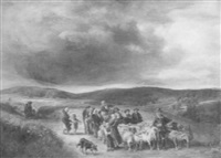 villagers and flock on a road through the countryside by eduard caspar post