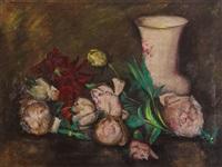 martwa natura z piwoniami i porcelanowym wazonem by anton müller-wischin