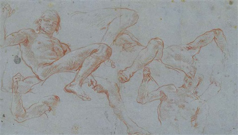 figure studies for the fresco ceiling over the neumann staircase in the residenz würzburg mars and a captive by giovanni battista tiepolo