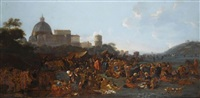 figures feasting at a fair in prati, outside the walls of rome, with the basilica di san pietro and monte mario beyond by jan miel