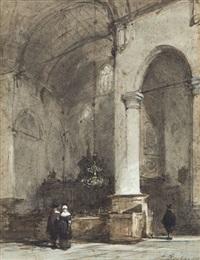 intérier d'église avec trois personnages by johannes bosboom
