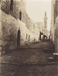 une rue de jérusalem et entrée du grand couvent by louis de clercq