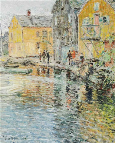 the smelt fishers cos cob connecticut by childe hassam