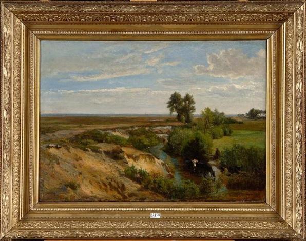 vacher et son troupeaux au ruisseau by théodore fourmois
