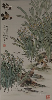 花鸟 立轴 纸本 by lin yushan