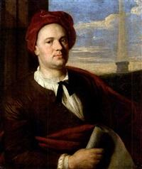 porträt eines architekten mit karminroter kappe und papierrolle (der architekt giovanni antinori?) by stefano tofanelli