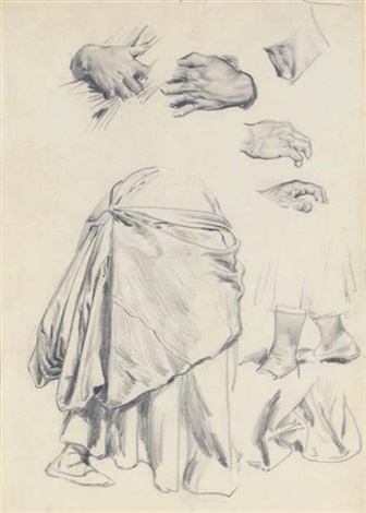 studies of hands legs and drapery by john dawson watson