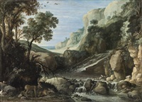 mountainous landscape with wildlife around a cascade by paul bril
