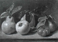 still life with pears, an apple and tomato by jean augustin daiwaille