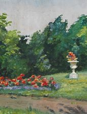 flowerbed in a garden and a large garden vase on the lawn by helga ancher