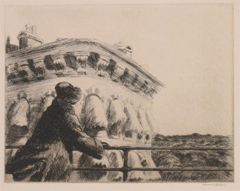 girl on a bridge by edward hopper