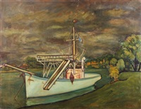 łódka na tle pejzażu by michel adlen