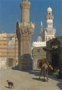 une journée chaude au caire (devant la mosquée) by jean-léon gérôme