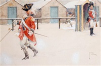 urchin landing snowball on redcoat officer by lawson wood